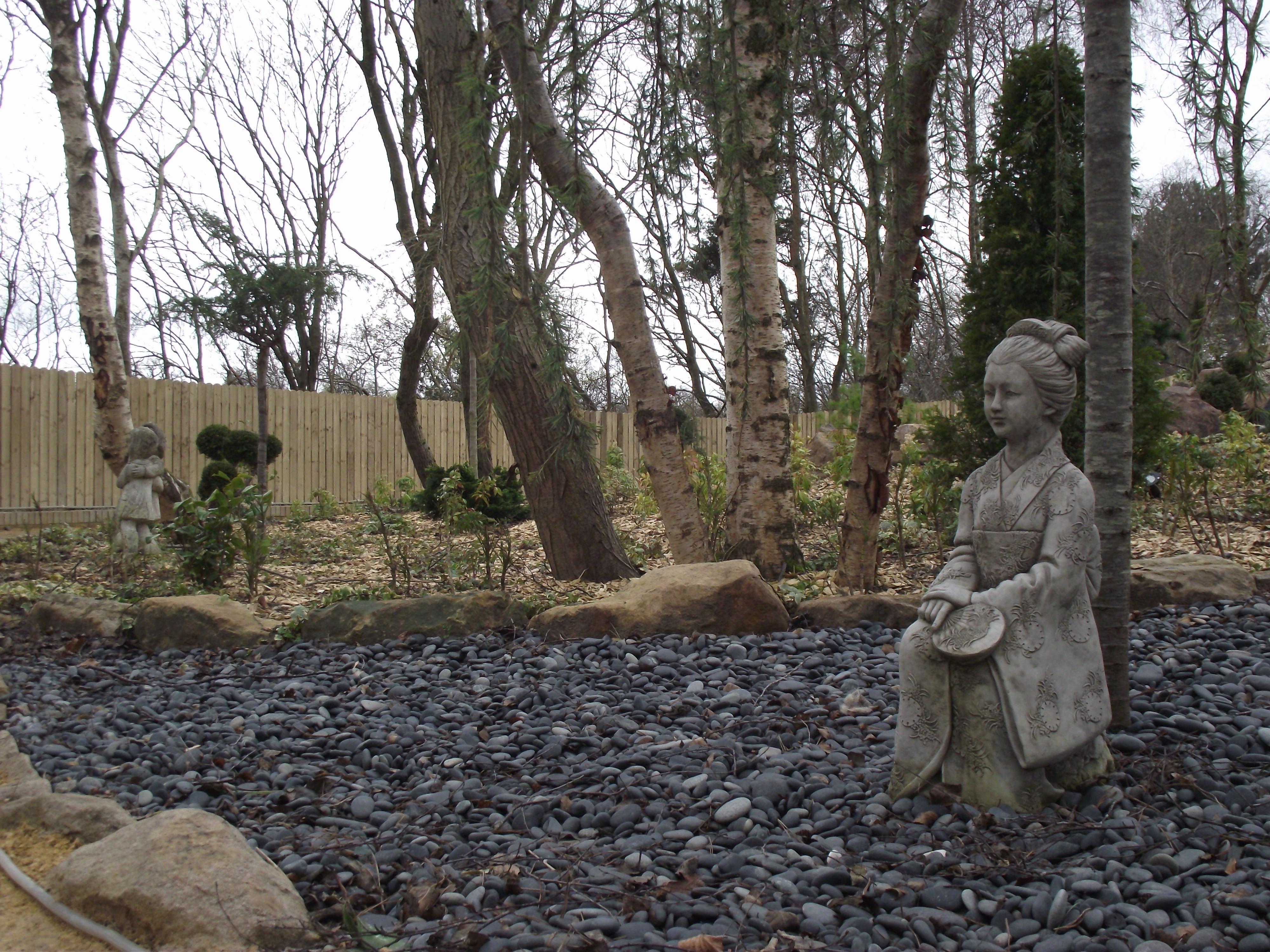 garden with sculptures