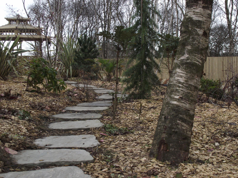 garden design with slabs